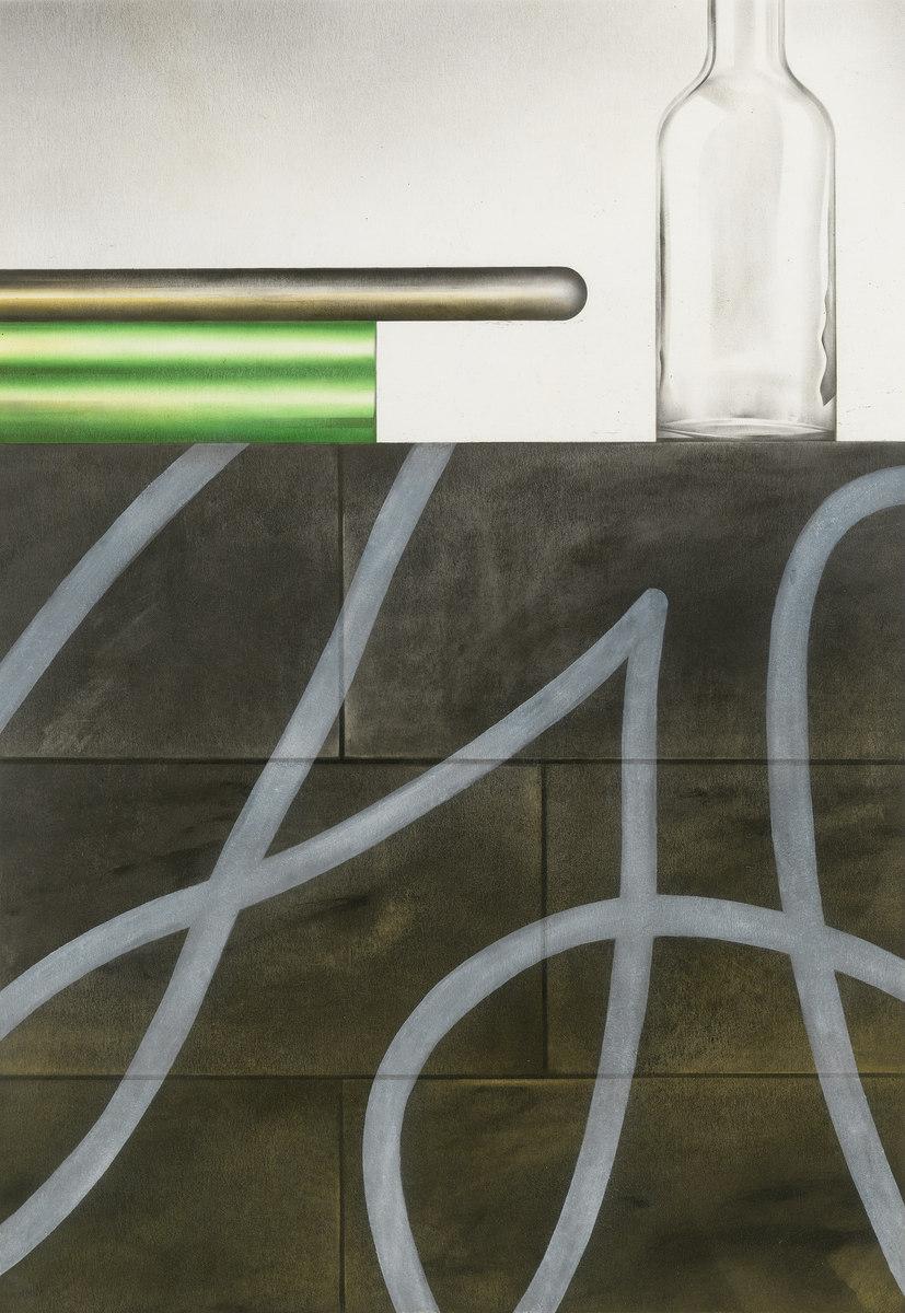 Tonfa II - Öl auf Papier, 50 × 35 cm, 2015
