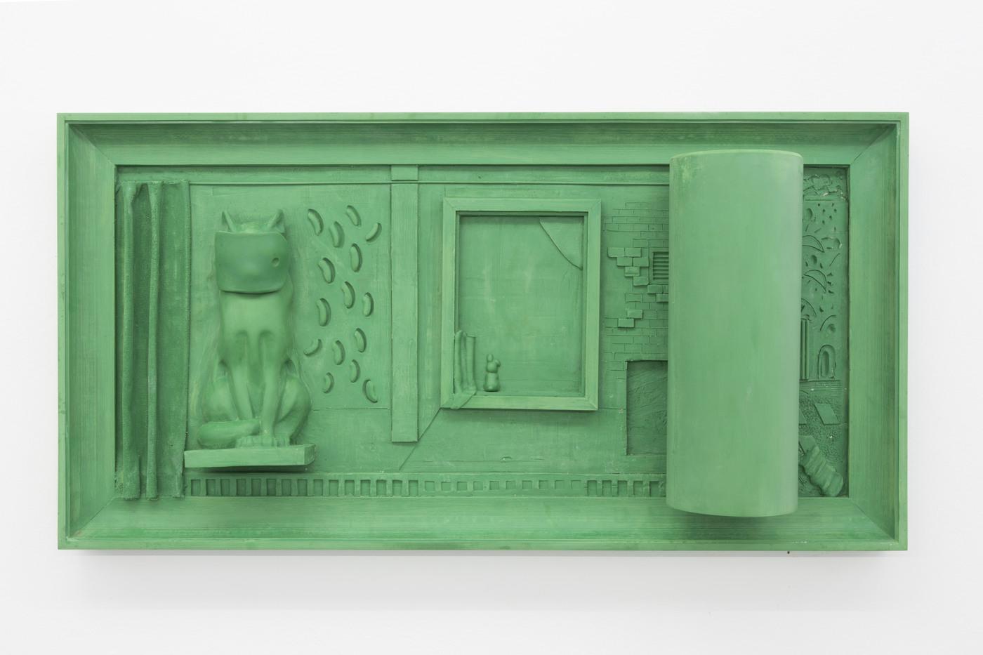 Nadia Naveau, Green Silver Screen, 2016, epoxy, 135x70x24cm