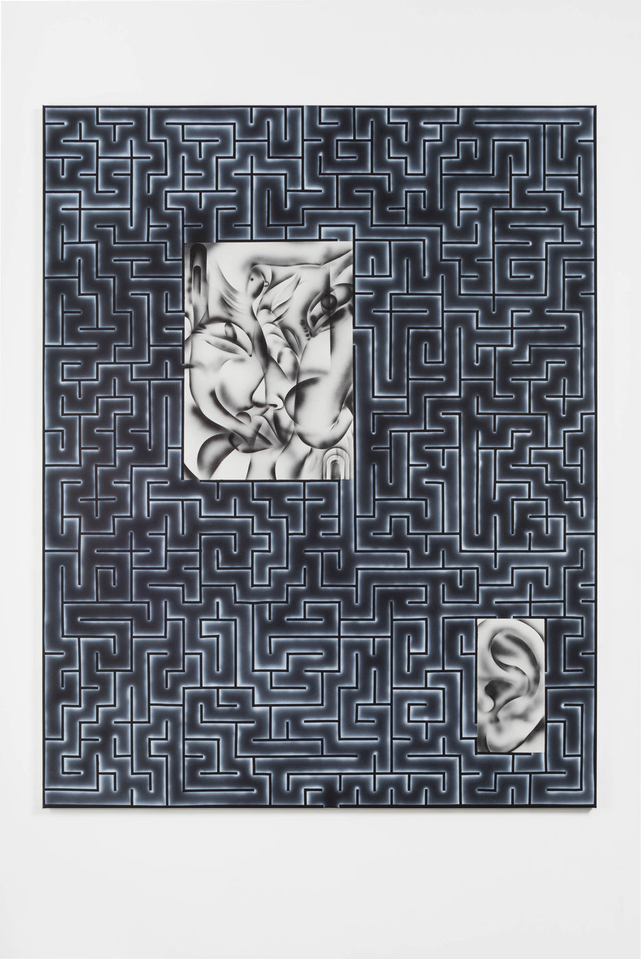 Zoe Barcza, Erotic Maze Painting (Face, Ear, and Little Bird), 2016, Acrylic on canvas, 65 x 51 in, 165 x 130 cm