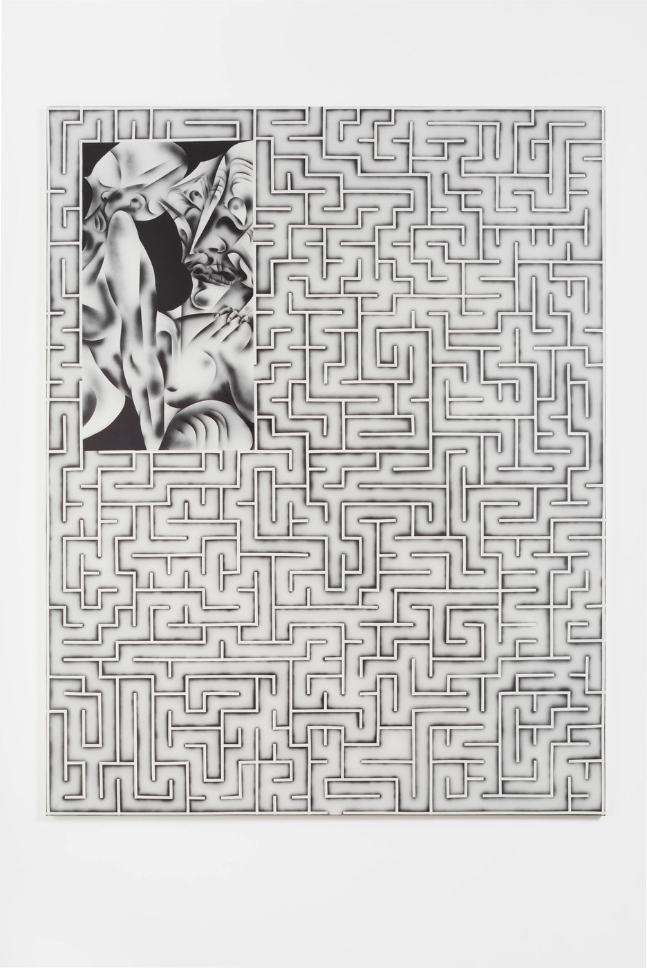 Zoe Barcza, Erotic Maze Painting (Young Lady and Witch, Acrylic on canvas, 65 x 51 in, 165 x 130 cm