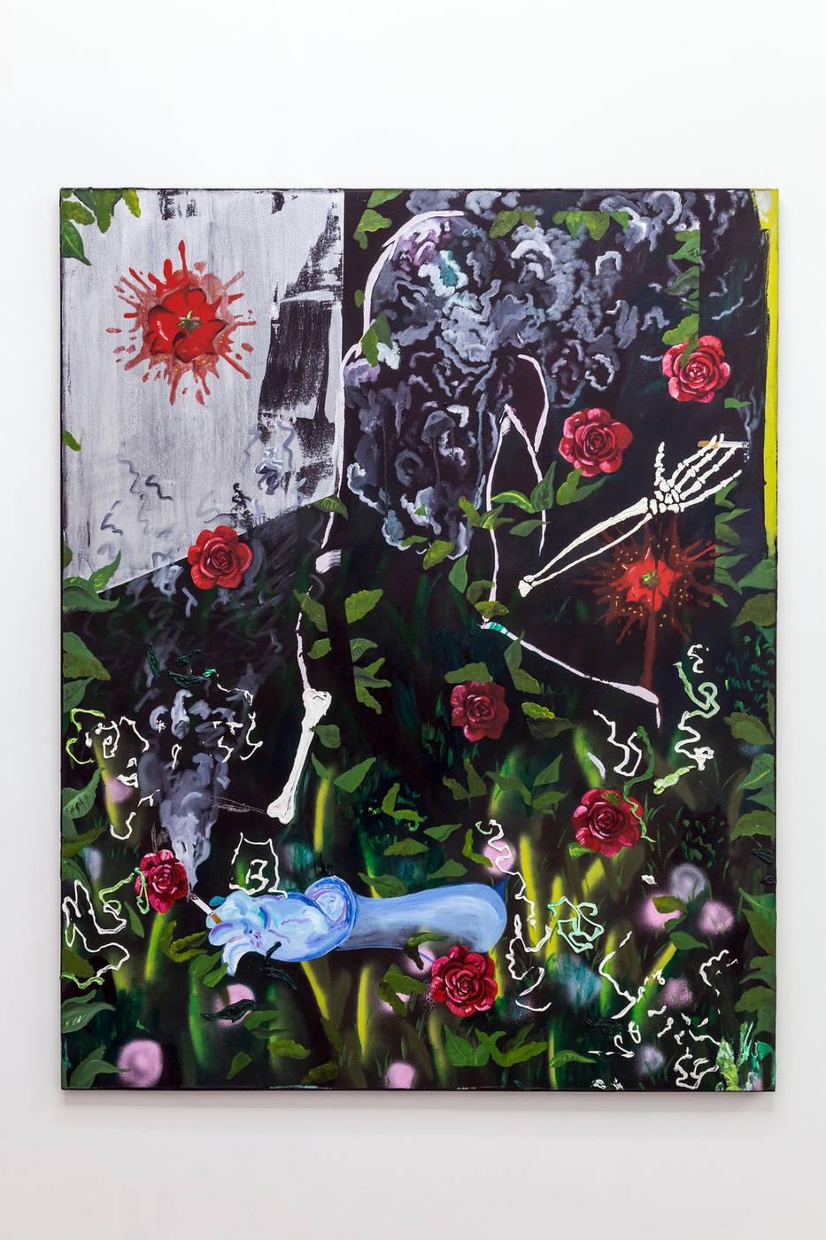Morgan Mandalay Mixed reviews, 2016 oil, acrylic paint and spray paint on canvas 163 x 152 cm courtesy Acappella anc D. Donzelli ph.