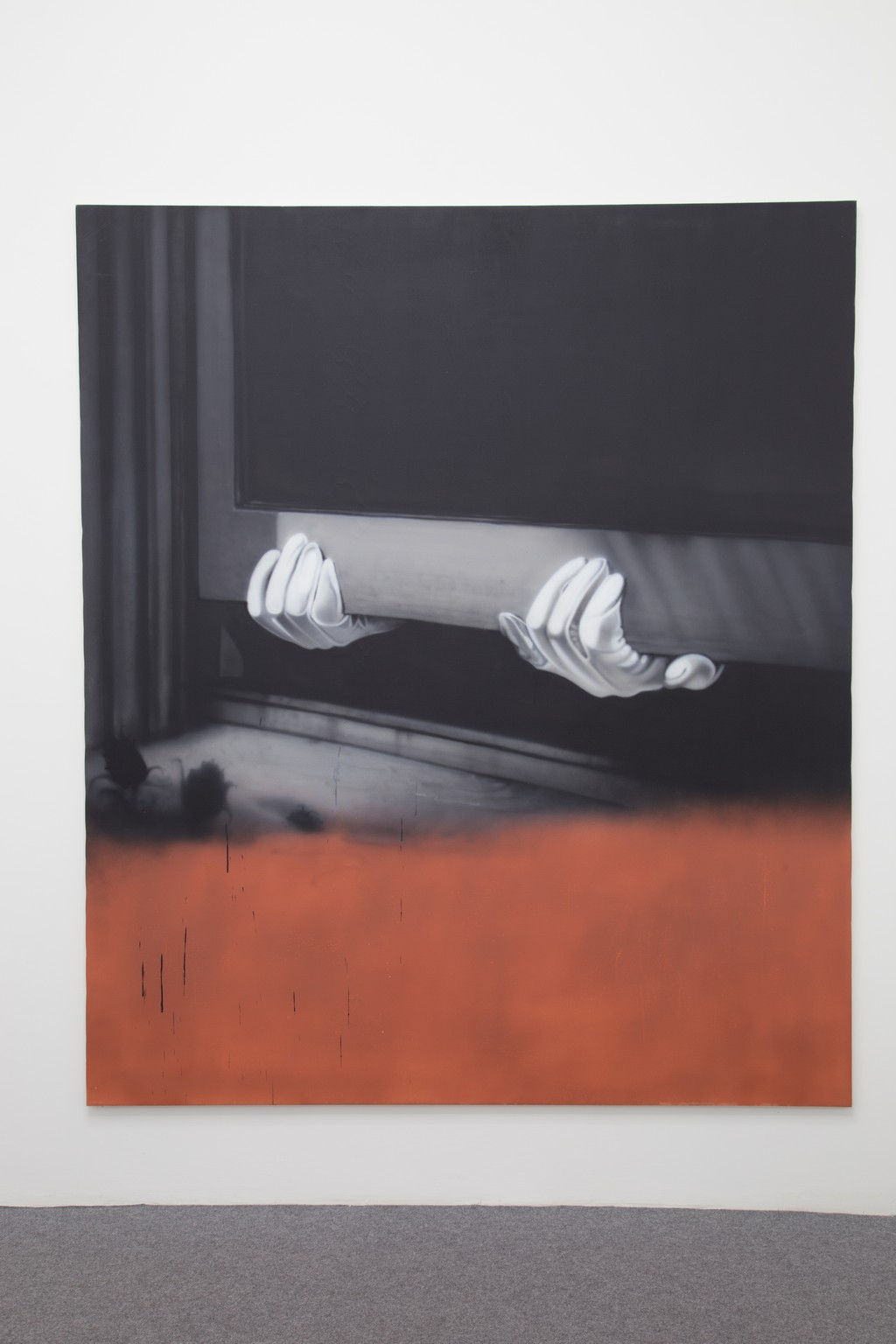 Sayre Gomez Thief Painting in Black and White and Red Oxide, 2015 acrylic on canvas 213 x 185 cm courtesy Acappella and D. Donzelli ph.