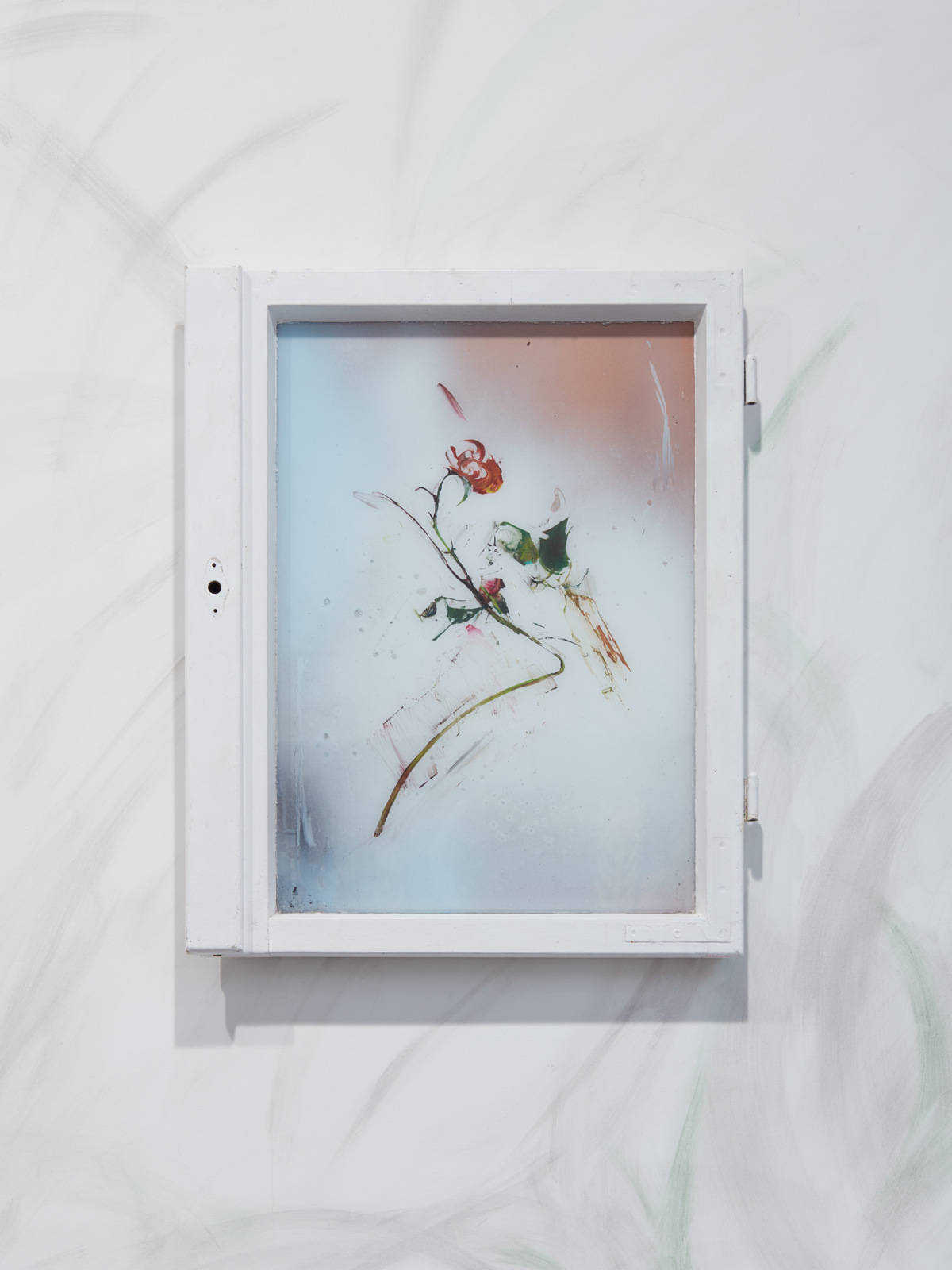 Tilman Hornig, The Newromanzer, 2016, Acrylic and spray paint reverse glass painting in window frame, 26 x 20 in, 66 x 50 cm