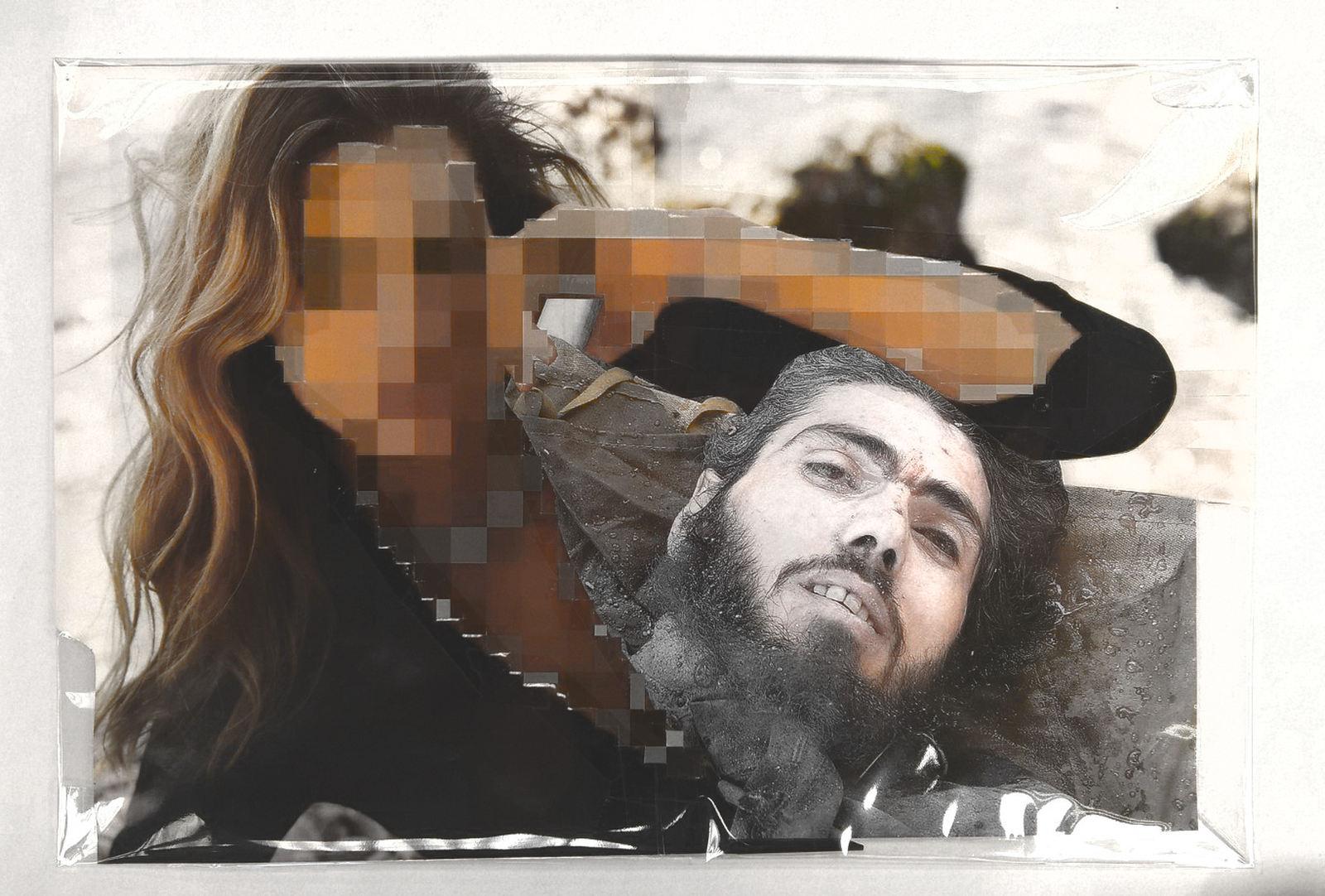 Pixel-Collage nº52, 2016, Prints, tape, transparent sheet, 30x44,5 cm