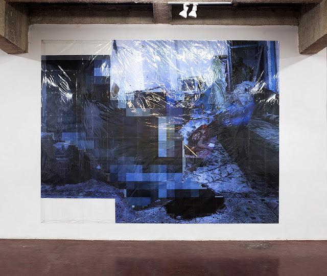 Pixel-Collage nº30, 2016, Prints, tape, transparent sheet, 330x431cm
