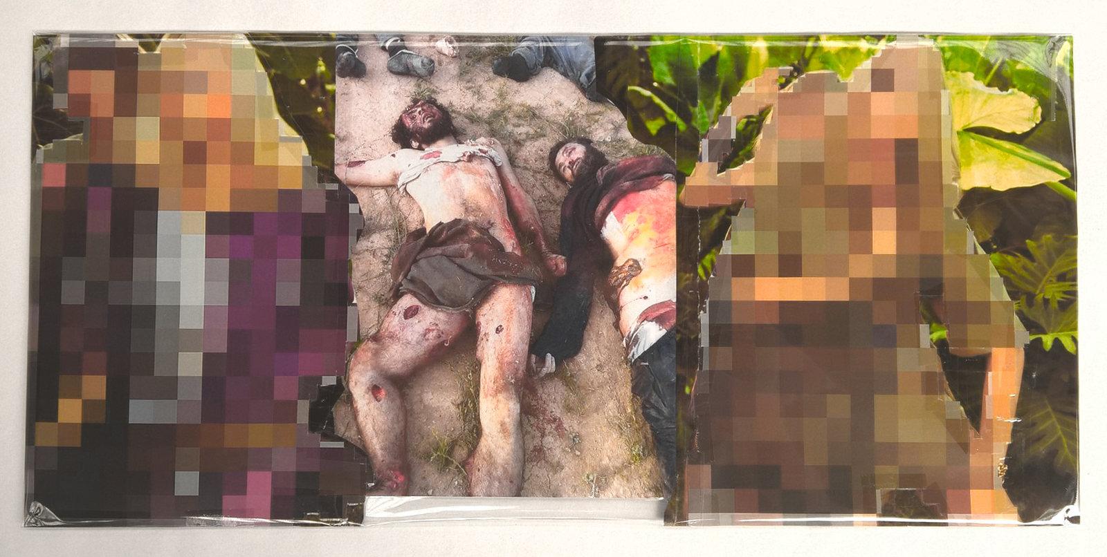 Pixel-Collage nº54, 2016, Prints, tape, transparent sheet, 28,5x61 cm
