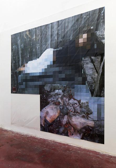 Pixel-Collage nº34, 2016, Prints, tape, transparent sheet, 336x364cm