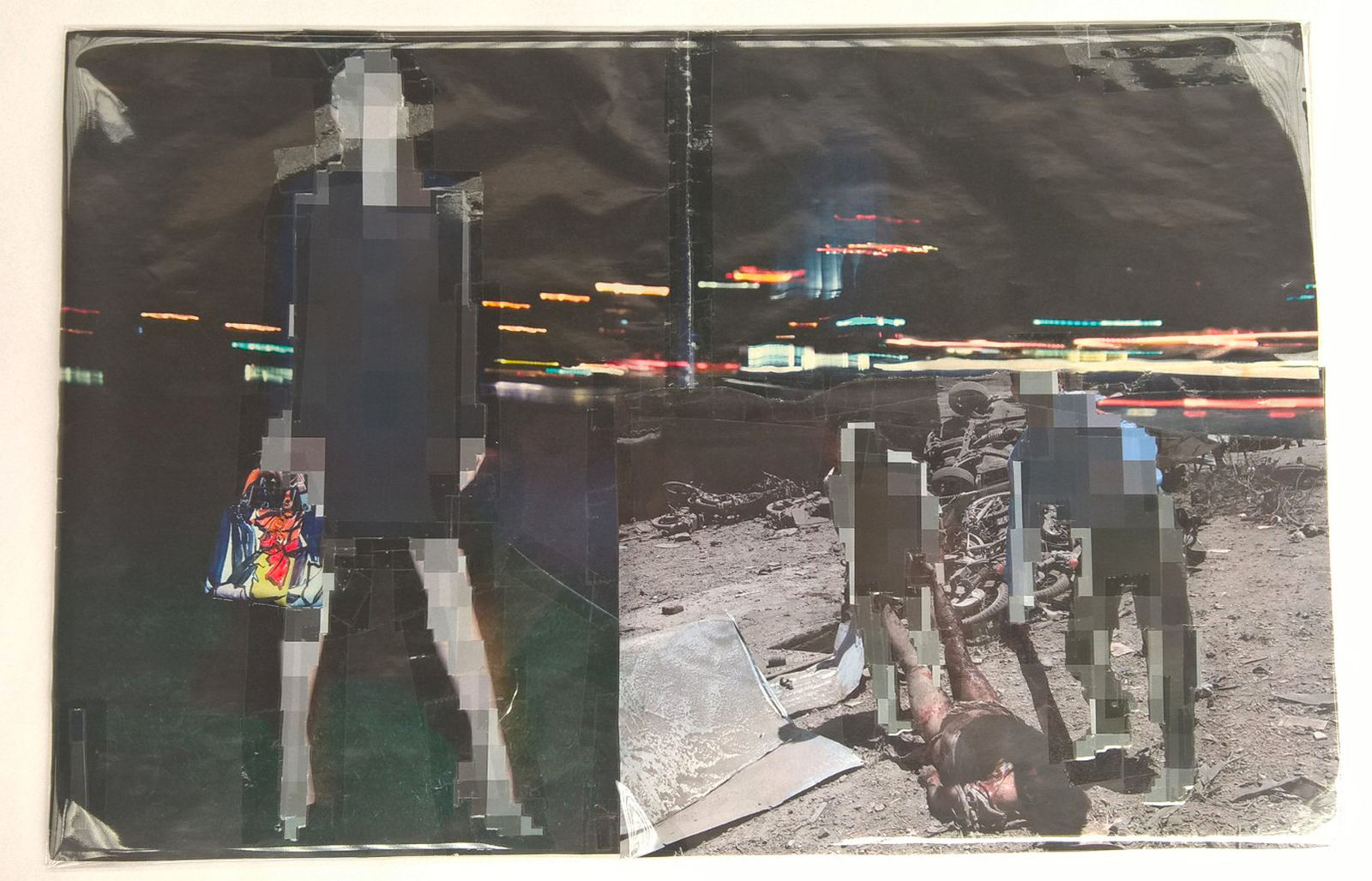 Pixel-Collage nº58, 2016, Prints, tape, transparent sheet, 34x51 cm