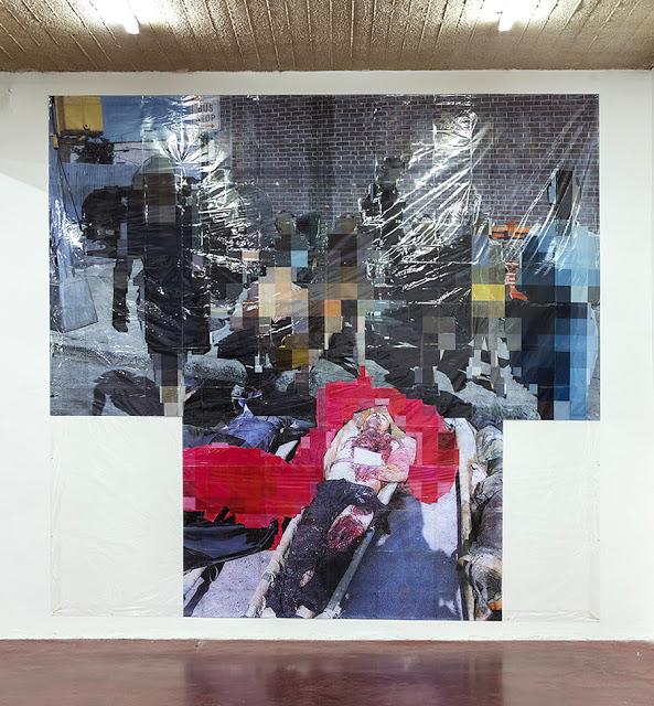 Pixel-Collage nº44, 2016, Prints, tape, transparent sheet, 360x380cm