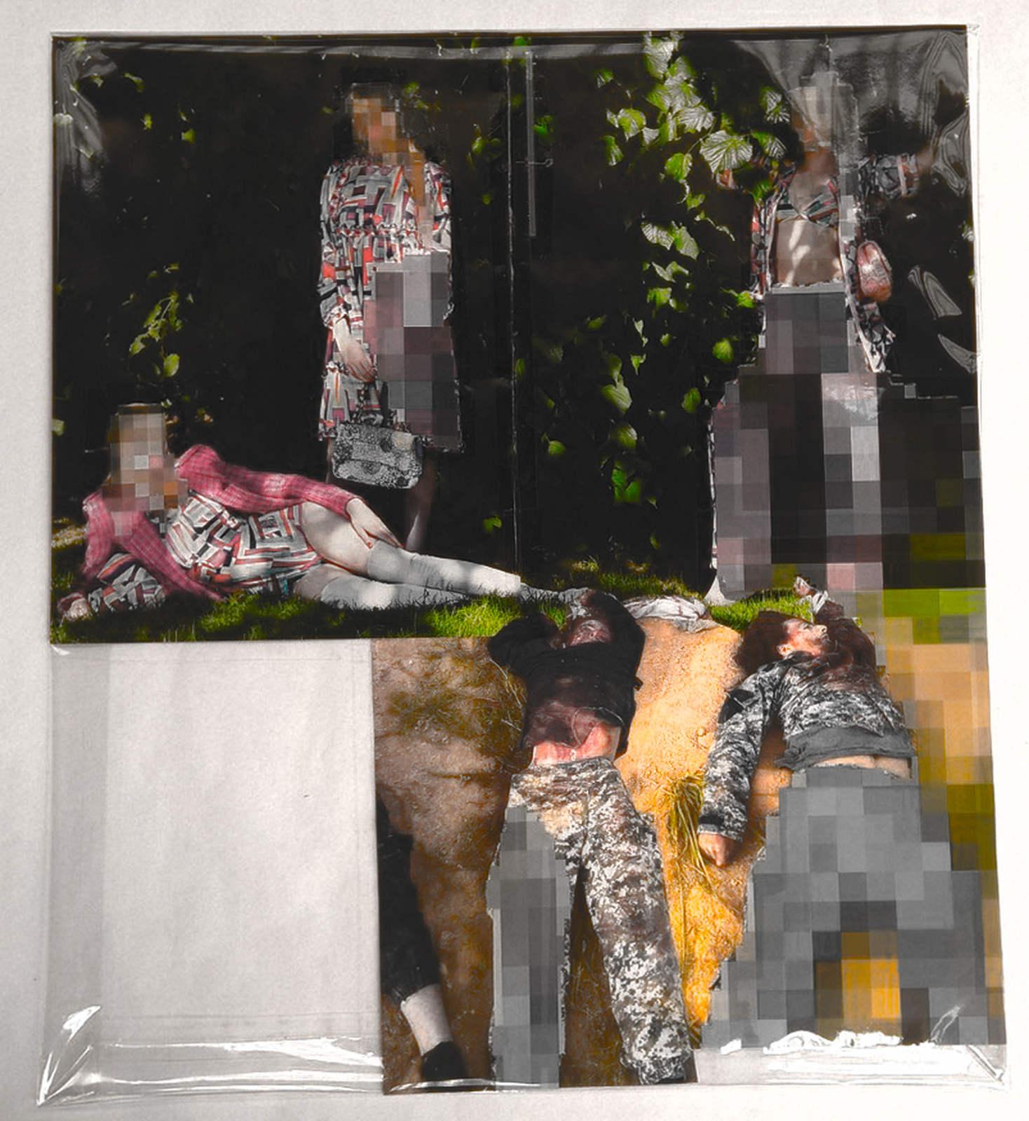 Pixel-Collage nº60, 2016, Prints, tape, transparent sheet, 52x45,5 cm