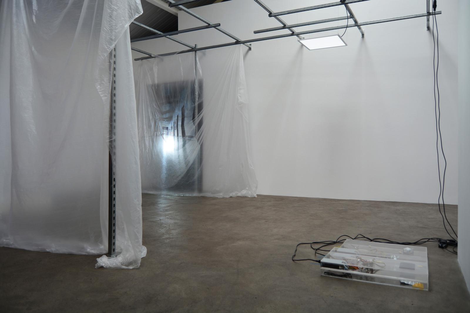 3. Yuri Pattison_sunset provision_installation view_(infinite corridor, infinite) Sunset Provision_dust,scraper, fan