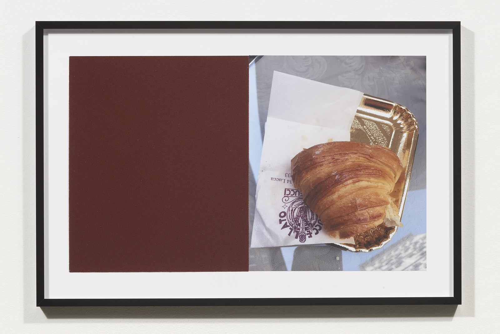 Wermers_Croissants & Architecture #13, 2016_C-print, sandpaper sheet, framed_14 3_8 x 21 1_2 in_NW00054PG