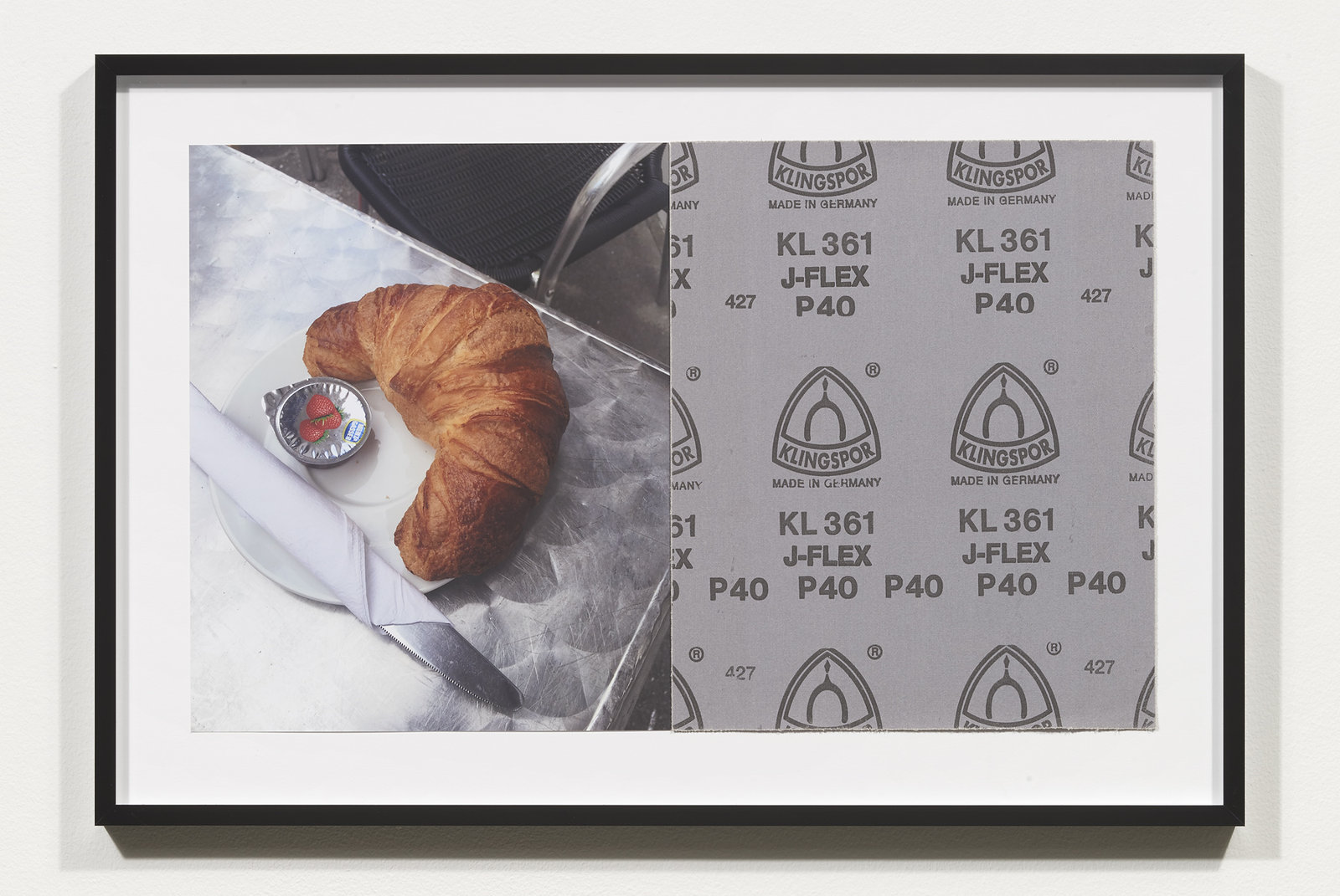 Wermers_Croissants & Architecture #23, 2016_C-print, sandpaper sheet, framed_14 3_8 x 21 1_2 in_NW00064PG