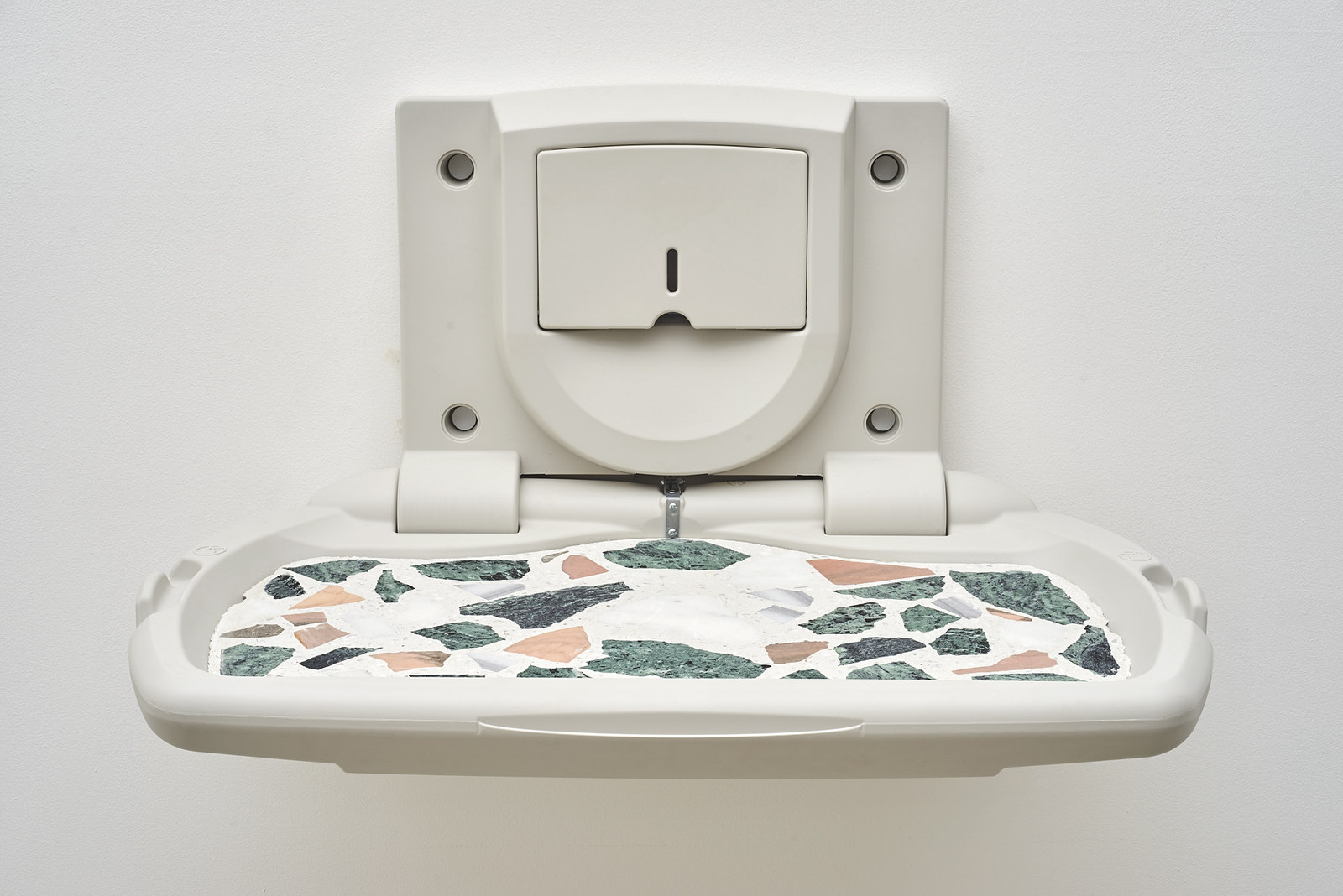 Wermers_Moodboard #4, 2016_Cast terrazzo in baby changing unit_19.25 x 34.75 x 23 in_NW00029ST