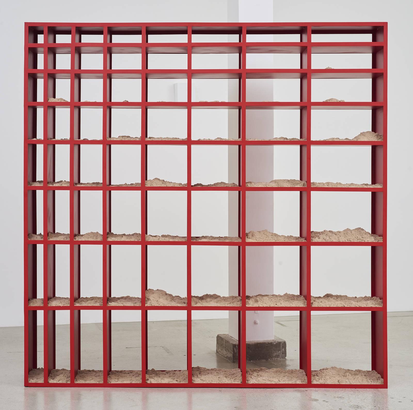 Wermers_Sand Shelf #1, 2016-2017_Powdercoated steel, kinetic sand_91 7_16 x 91 7_16 x 16_NW00036ST