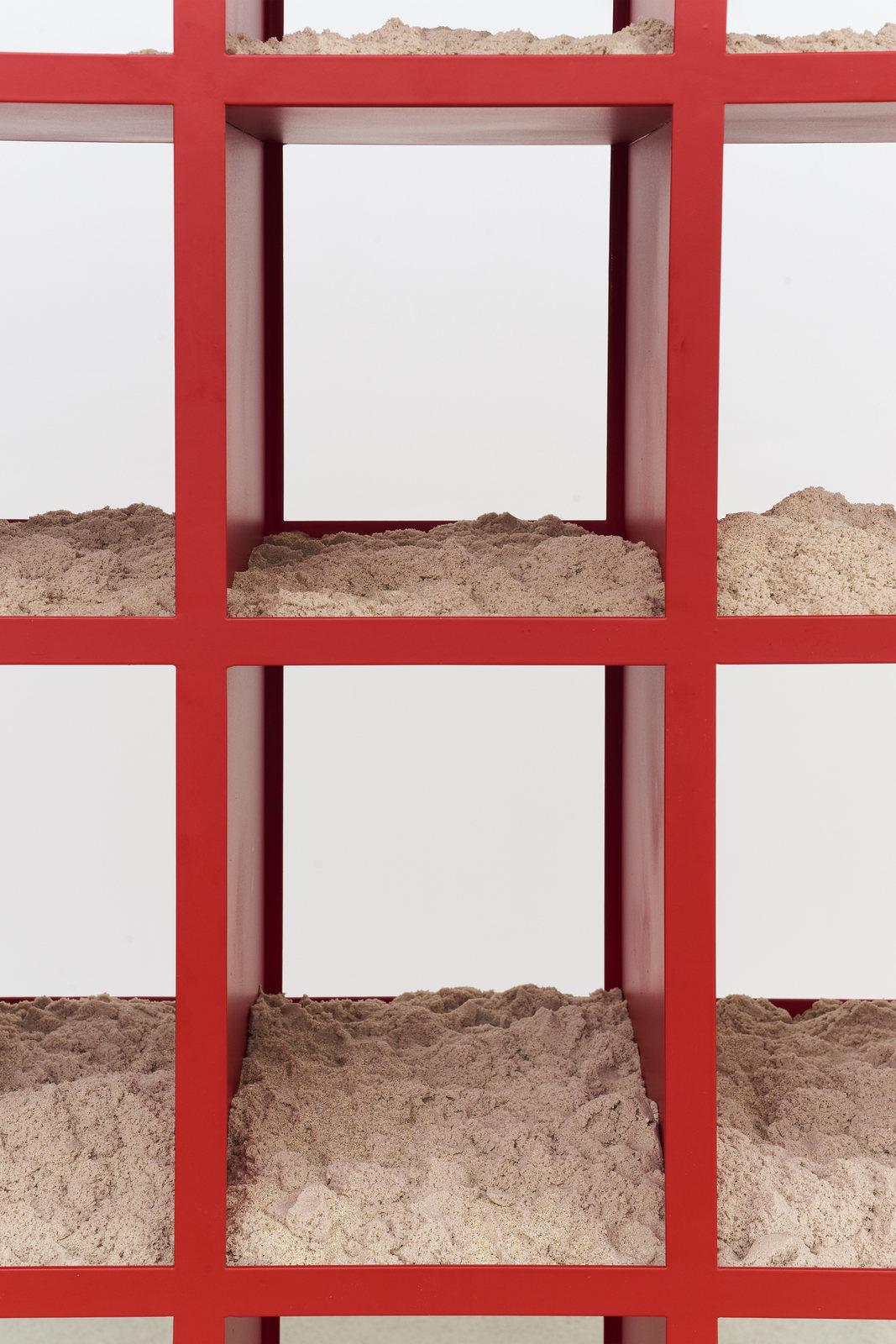 Wermers_Sand Shelf #1, 2016-2017_Powdercoated steel, kinetic sand_91 7_16 x 91 7_16 x 16_NW00036ST_detail2