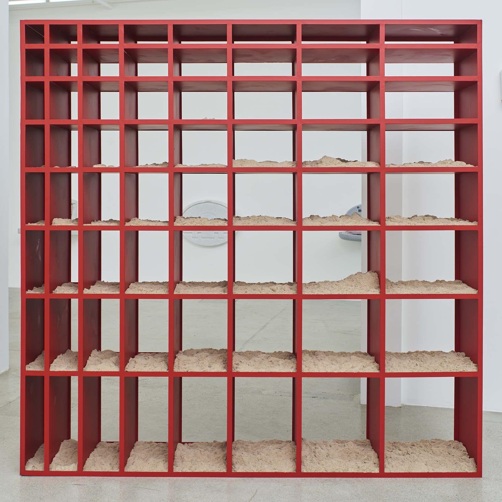 Wermers_Sand Shelf #2, 2016-2017_Powdercoated steel, kinetic sand_91 7_16 x 91 7_16 x 16_NW00037ST