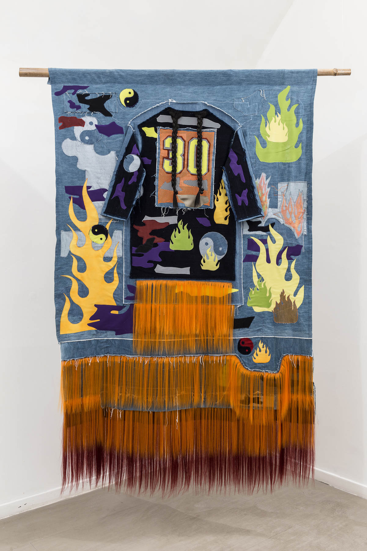 12_Zadie Xa_Mudang_2016_Machine sewn and hand stitched fabric_synthetic hair_acrylic spray paint_digital print and wood_240x180cm