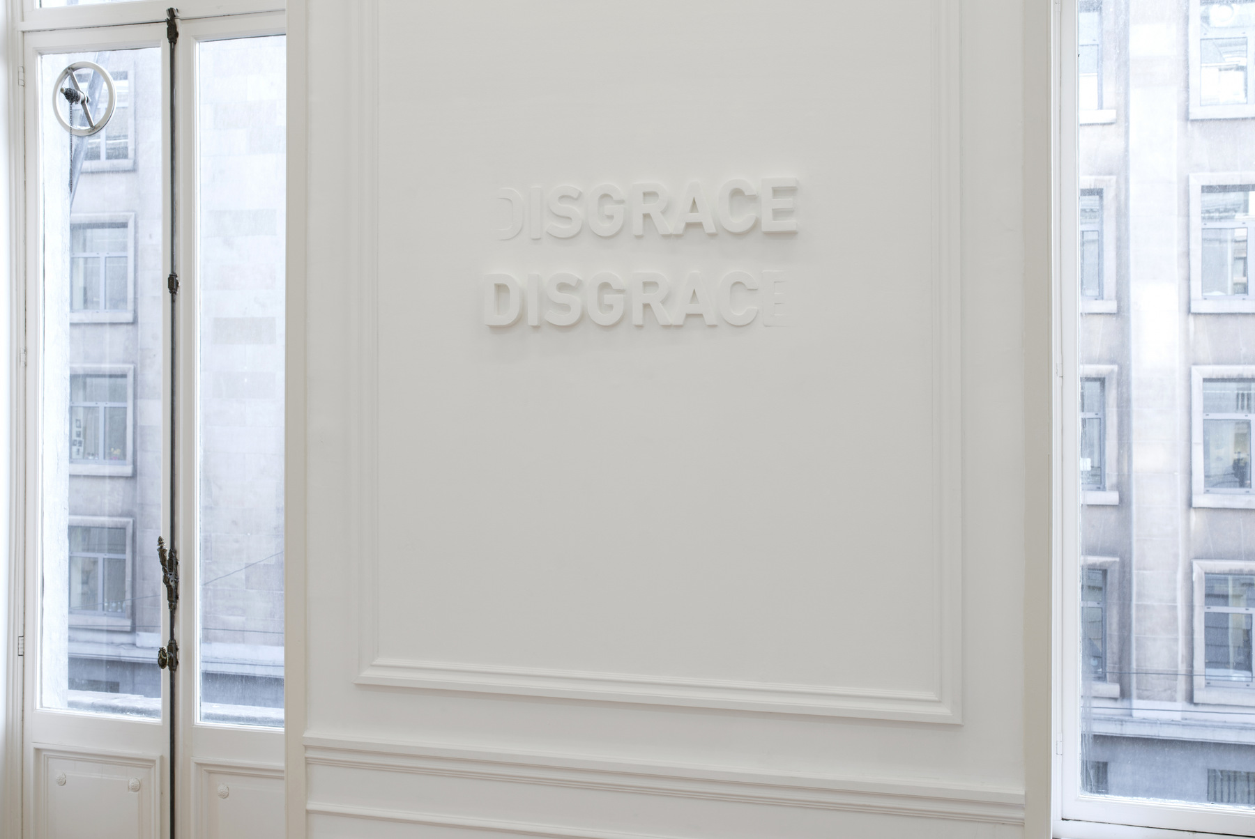 Melik Ohanian, Deviation (01) — Disgrace, 2014, Letters in polystyrene and plaster, 60 x 120 cm, 1_3