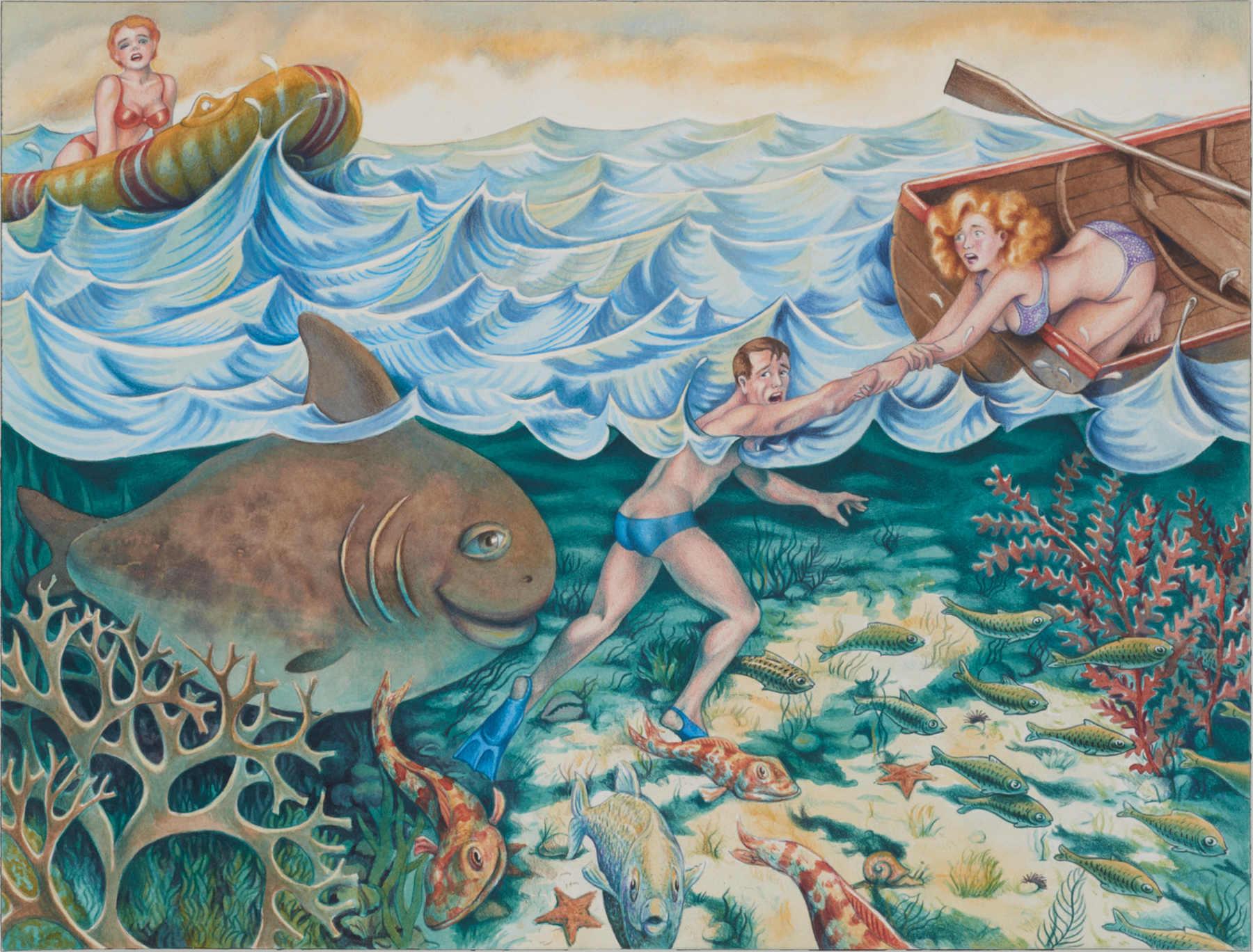 Joe Neave,Dangerous Dip, 2017,Buntstift und Aquarell auf Papier,29,7x42cm