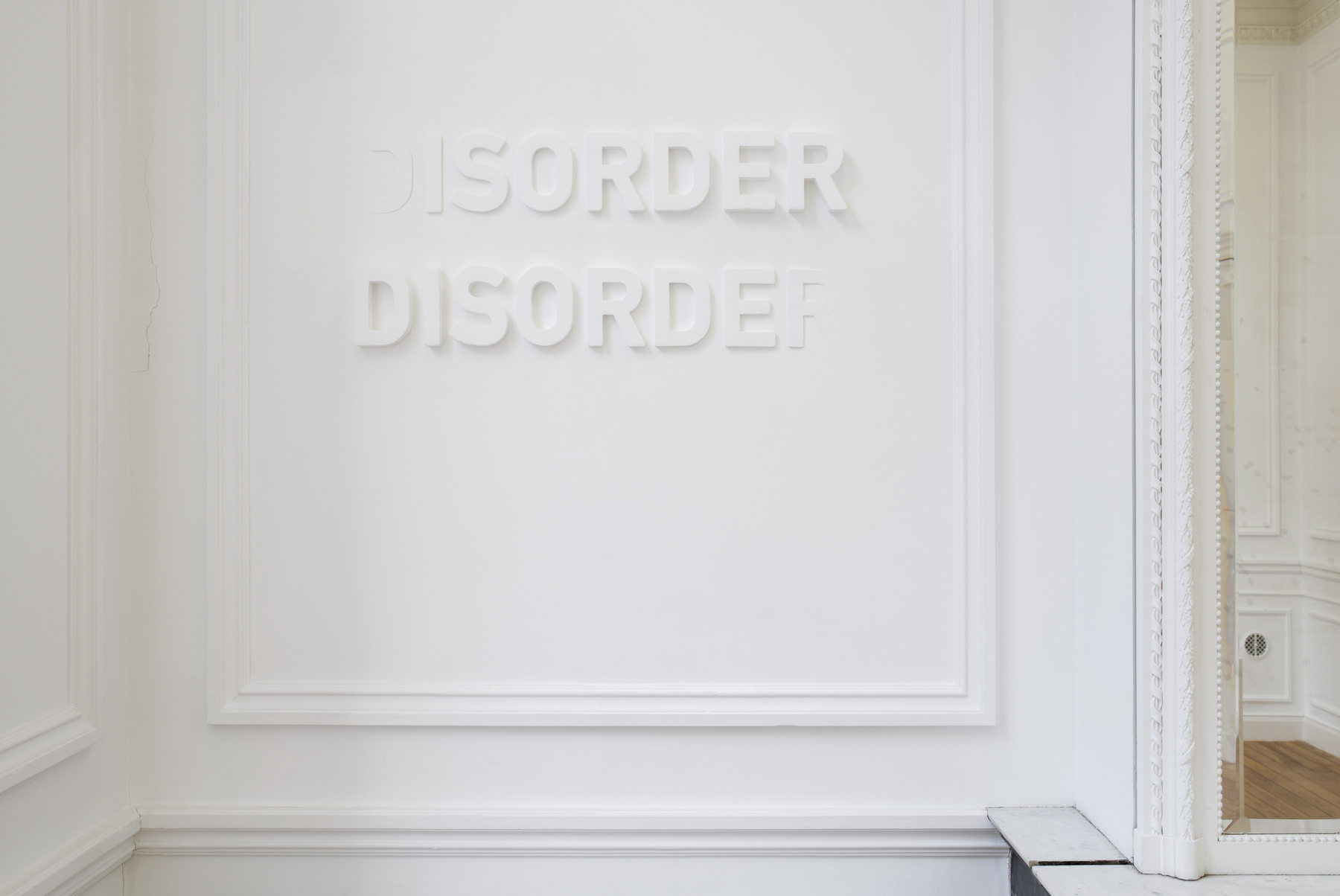 Melik Ohanian, Deviation (04) — Disorder, 2014, Letters in polystyrene and plaster, 60 x 120 cm, 1_3